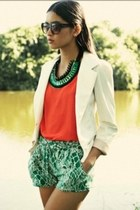 white blazer - carrot orange shirt - turquoise blue pants