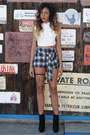 Black-chained-shoe-cult-boots-blue-plaid-somedays-lovin-shorts