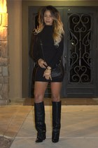 black knee AKIRA Black Label boots - black sweater Forever 21 dress