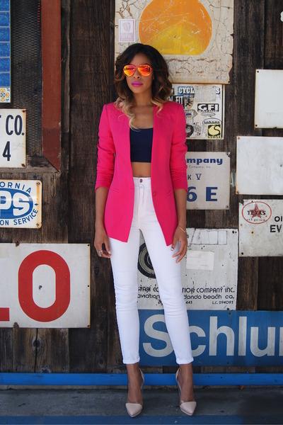 hot pink neon Zara blazer - white high waist Nasty Gal jeans