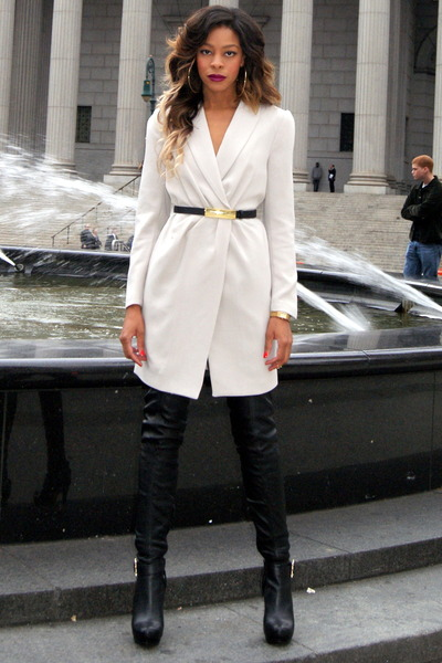 3f41cebabe7 beige blazer H M coat - black Anna Dello Russo for H M boots