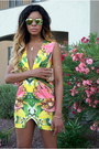 Green-floral-print-finders-keepers-dress-yellow-lace-up-make-me-chic-heels