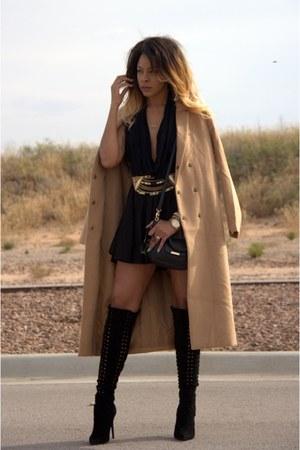 black otk Jeffrey Campbell boots - tan long Forever 21 coat