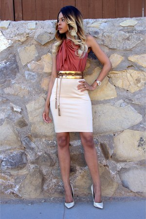 neutral body con Galliano Boutique dress - nude single sole Akira heels
