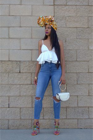 mustard headwrap grass fields accessories - blue ripped asos jeans