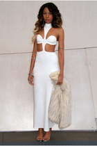 white maxi dress Nasty Gal dress - off white fur vintage jacket