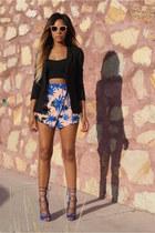 light pink palm print Missguided skirt - black linen asos blazer