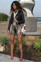 silver pleated skirt Forever 21 skirt - black faux leather 2b stores jacket