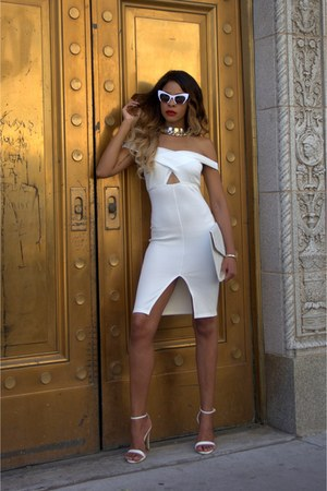 white cut out Bottle Blonde dress