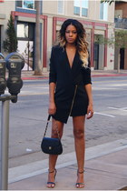 black blazer Missguided dress - black quilted Chanel bag