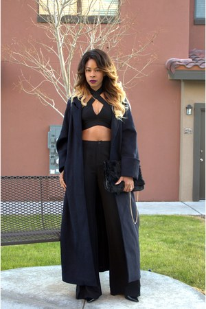 black faux fur Missguided bag - navy duster H&M coat