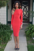 red midi dress asos dress - black peep toe Christian Louboutin heels