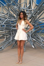 white neoprene Nasty Gal dress - white clear Jeffrey Campbell heels