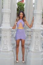 light purple bandage Celeb boutique dress - neutral pumps Jeffrey Campbell heels