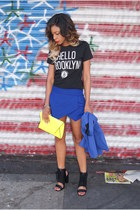 yellow clutch Zara bag - blue skort Zara shorts