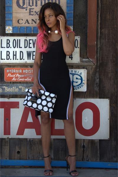 black slit Nasty Gal dress - black fold over Front Row Shop bag
