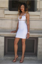 white bodycon Celeb boutique dress - bronze peep toe brian atwood heels