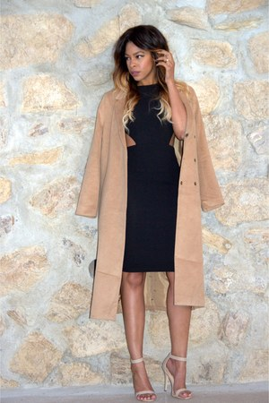 black cut out Missguided dress - camel long line Forever 21 coat