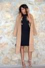 Black-cut-out-missguided-dress-camel-long-line-forever-21-coat