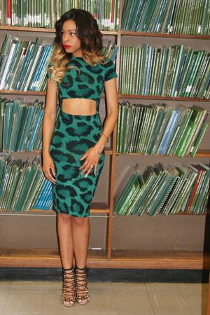 green leopard Topshop dress - brown leopard print Zara heels