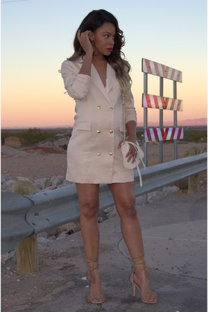 beige blazer Missguided dress - camel strappy Steve Madden heels