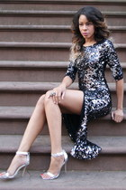 black sequined Blaque Market dress - silver metallic Steve Madden heels