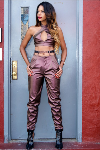 maroon faux leather Nasty Gal top - maroon faux leather Nasty Gal pants