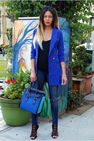 blue boyfriend Nasty Gal blazer - navy destroyed asos jeans