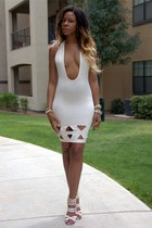 white bodycon ami clubwear dress - white pierced ami clubwear heels