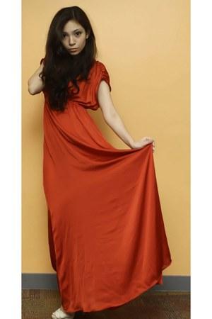 ruby red H&M dress - ivory H&M heels