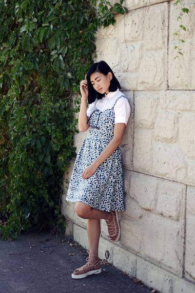 teal Loft dress - white Loft blouse