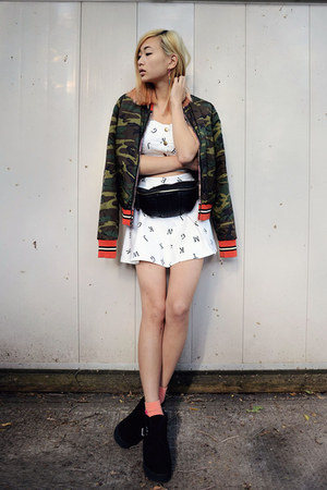 black Shellys London boots - black shopakira bag - white FEMMEX skirt