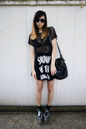 black Chicwish bag - black Choies sunglasses - black FEMMEX skirt