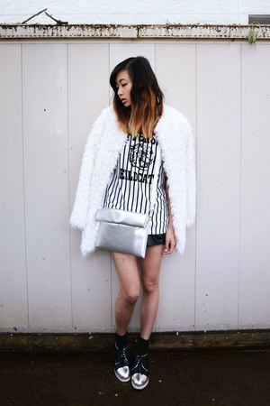 white faux fur Chicwish jacket - white le bunny bleu shoes - silver Choies bag