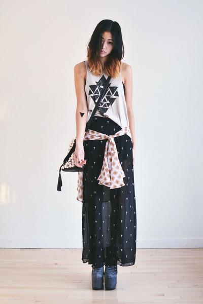 black cross Timeless skirt - black romwe bag - beige Timeless top