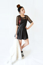 black mesh Ecugo dress - black faux leather beginning boutique dress