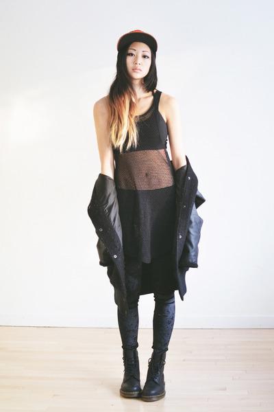 black velvet romwe leggings - black netted Shoppalu vest