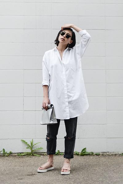 white button-up SUZANNE RAE dress - silver foldover SMK bag