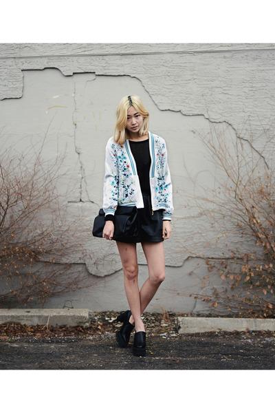 black platform frontrow shop shoes - white Vateno jacket