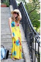 yellow Old Navy dress - black Zara bag - black Karen Walker sunglasses