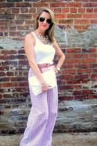 white clutch vintage purse - white Express top - red vintage pants