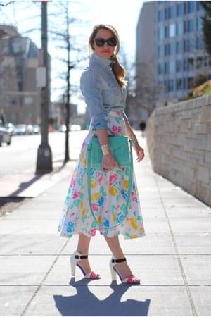white asos sandals - aquamarine asos bag - light blue Gap blouse