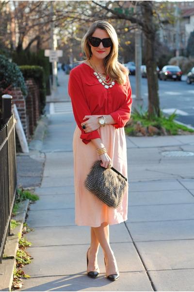 red Loft blouse - gray ann taylor bag - black House of Harlow 1960 sunglasses