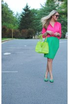 green skirt - bubble gum blouse