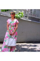 floral print vintage dress - white vintage bag - Ray Ban sunglasses - David Yurm