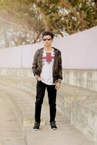 black shoes - crimson jacket - white t-shirt
