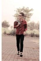red milanoo shirt - black jeans