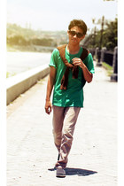 green t-shirt - brown cardigan