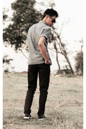 black jeans - periwinkle shirt