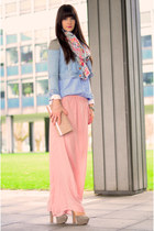 pink Zara pants - navy H&M jacket - aquamarine pieces scarf